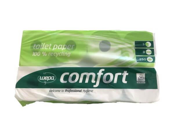 Toilettenpapier WC-Papier 3-lagig weiß 8 Rollen je 250 Blatt